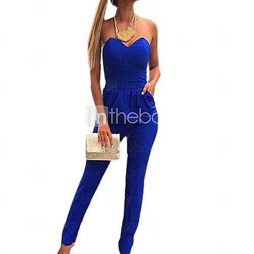 solide combinaison bleu royal des femmes, bustier casual / Sweetheat manches gathere - EUR €14.69
