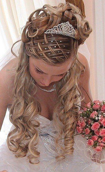delightful long wedding curls