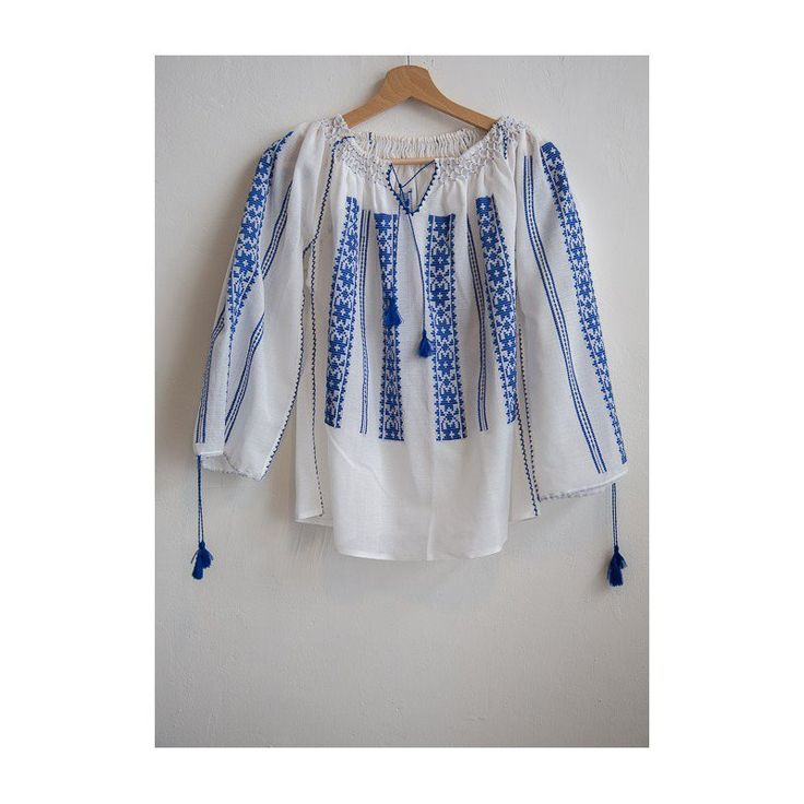 Blouse Roumaine Traditional Embroidery SB 27053 BLUE