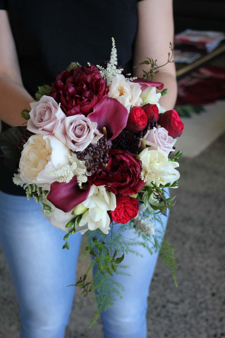 Burgundy, red, cream and dusky rose brides bouquet - Romantic wedding flowers made by Amy's Flowers