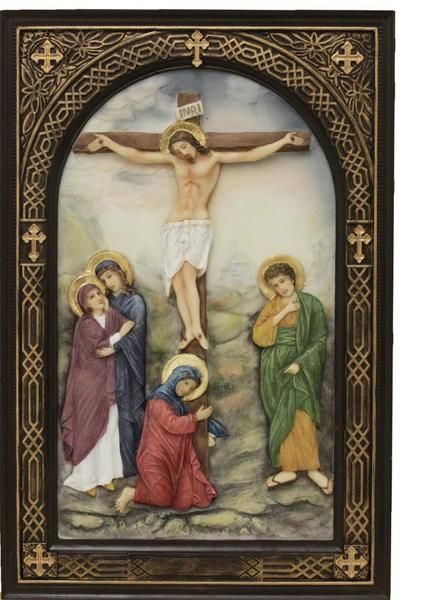 Jesus crucifixion plaque with hand painted accents. Beautiful gift for home, chapel or church. This plaque is from the Veronese collection. Very high quality gi
