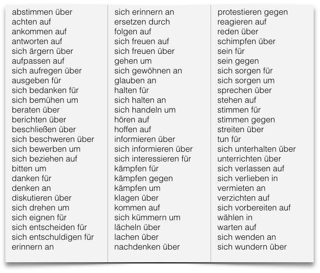 Die besten 25 verben mit akkusativ ideen auf pinterest for Prapositionen mit akkusativ