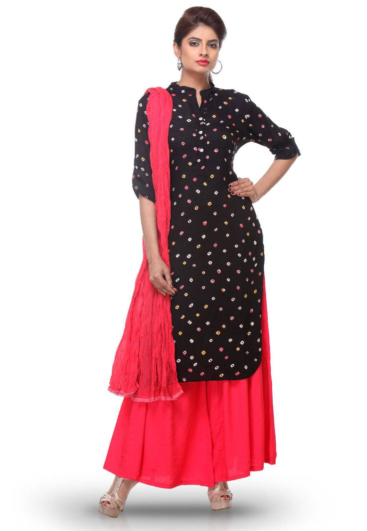 BANDHEJ PRINTED RAYON COTTON STRAIGHT CUT IN SUIT BLACK
