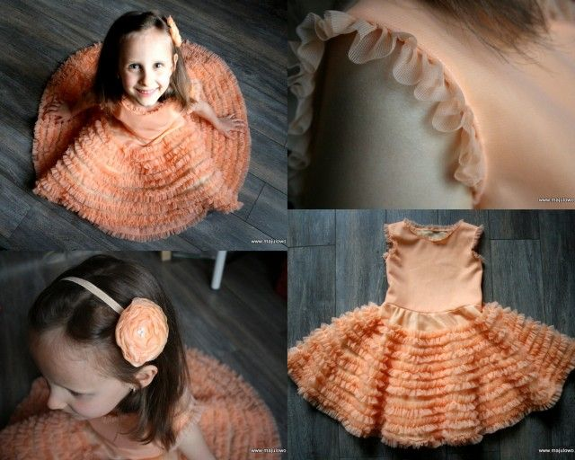 peach dress with frills
