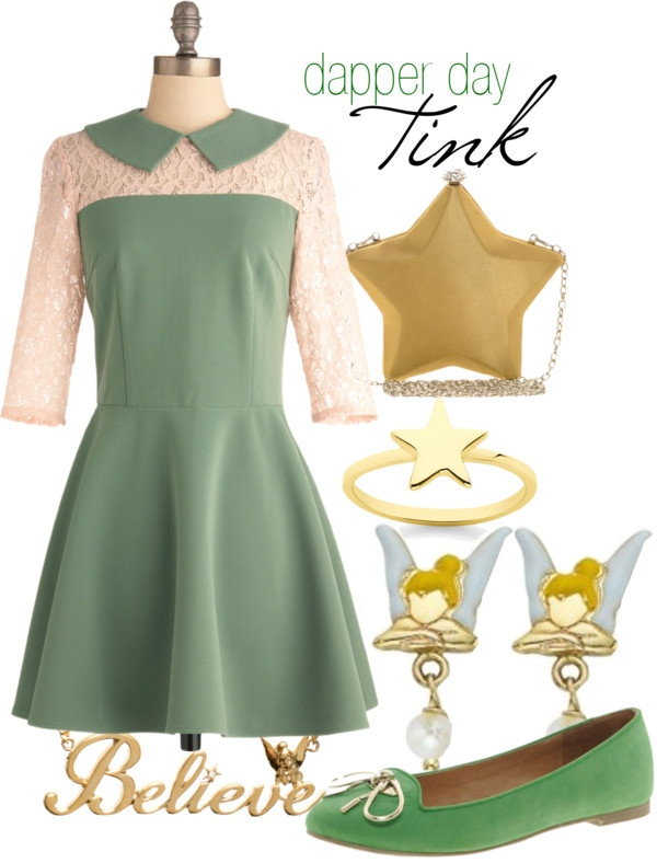 """Dapper Day Tinkerbell"" @Becky Collins I don't know if you've heard about Disneybounding or about Dapper Day at the Disney Parks, but I thought this might interest you =]"