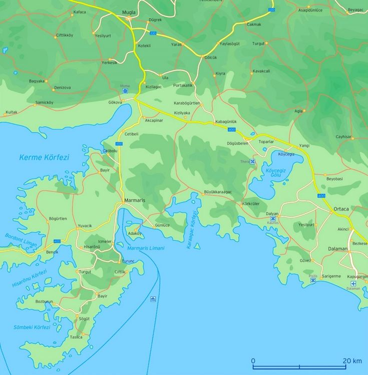 Map of surroundings of Marmaris