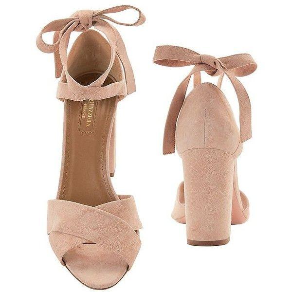 Aquazzura Women's Tarzan Block Heel Sandals (£330) ❤ liked on Polyvore featuring shoes, sandals, heels, heeled sandals, strappy heeled sandals, ankle strap sandals, nude block-heel sandals and block heel sandals