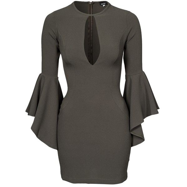 John Zack Bell Sleeve Dress ($61) ❤ liked on Polyvore featuring dresses, khaki, party dresses, womens-fashion, flared sleeve dress, round neck long sleeve dress, round neck dress, sleeve dress and tall dresses