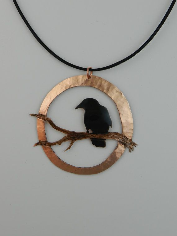 In silver with copper branch and patina bird