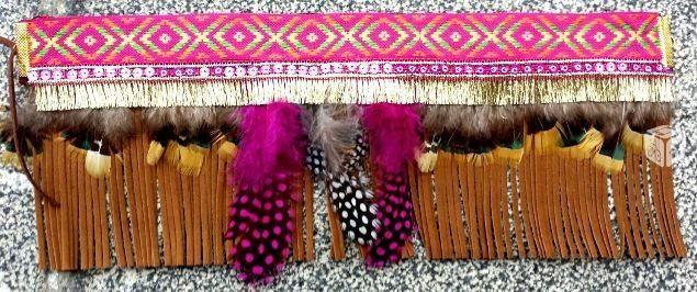 Foto de Cubrebotas flecos marron y rosa