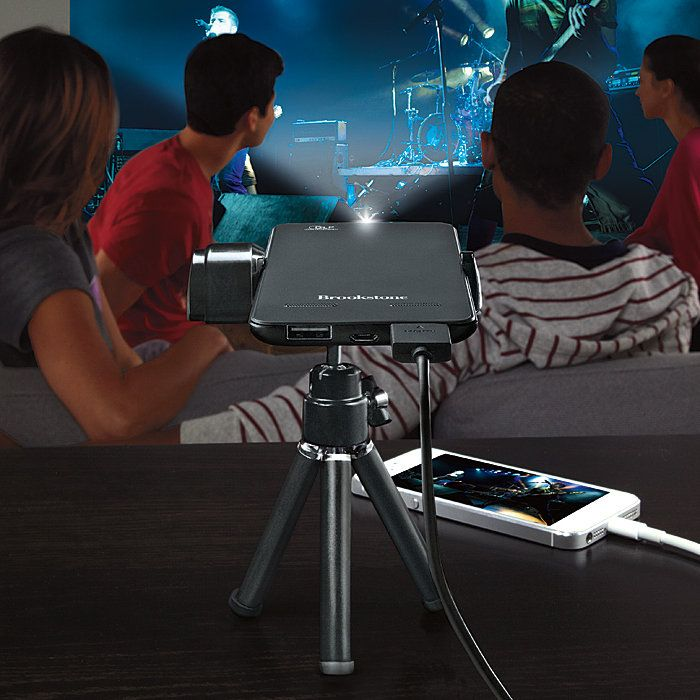 """Brookstone® Pocket Projector Slim - alternative to TV in Tiny Home (connects to laptop or smartphone for 60"""" display)"""