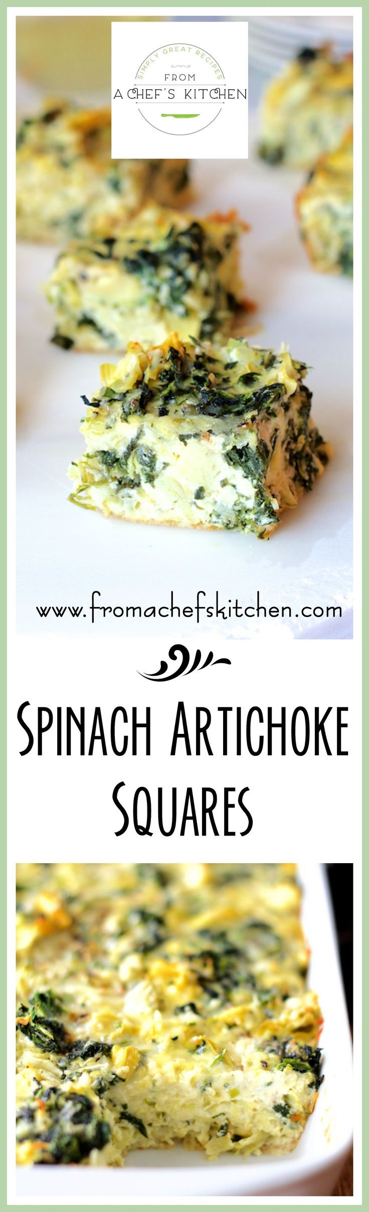 Spinach Artichoke Squares are an elegant low-carb spin on classic spinach artichoke dip! Perfect for a party, breakfast, brunch or lunch.