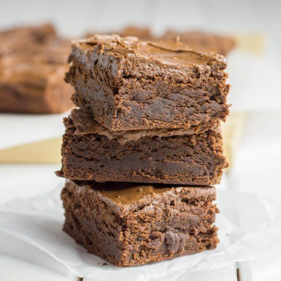 These Double Chocolate Chewy Brownies with Coffee have luscious rich chocolate flavor and a beautiful chewy texture.
