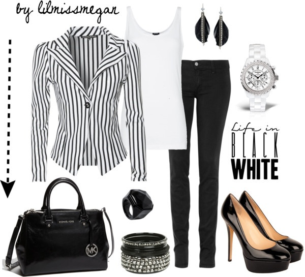 """Black & White"" by lilmissmegan on PolyvoreMi Style, Polyvore Playtime, Complete Outfit, Red Hair, Foxes Fashion, Hair Stands, Black White, Fashion Aholic"