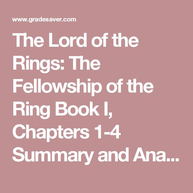 Fellowship Of The Rings Book Character Summery