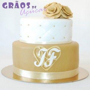 Dourado e Branco   Recortado   bolo casamento dourado   Grãos de Açúcar - Bolos decorados - Cake Design