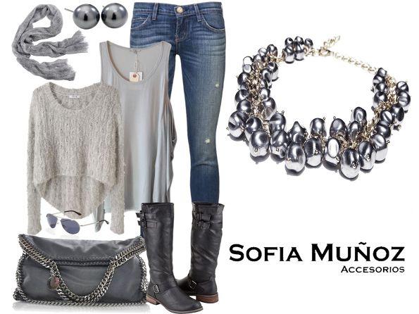 #OutfitMiércoles #Gris  Collar Perlas  Míralo aquí ➡ ♔NUEVA COLECCIÓN♔ #Collares http://sofiamaccesorios.wix.com/sofiamunozaccesorios