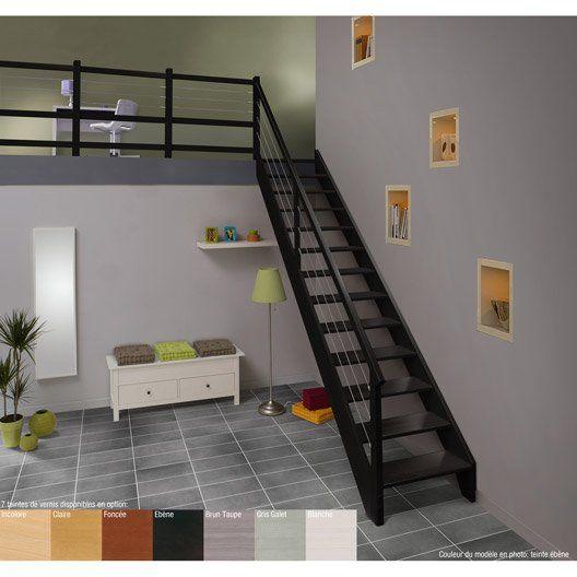 Escalier droit urban acier, marches/structure bois lamellé collé hêtre brut
