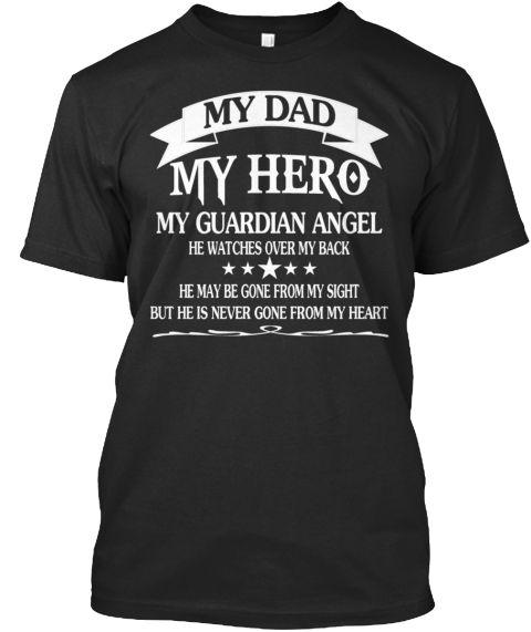 My Dad   My Hero, Tshirt Black T-Shirt Front