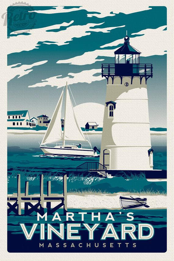 Martha's Vineyard Massachusetts Screen Print Vintage Retro travel poster - Etsy