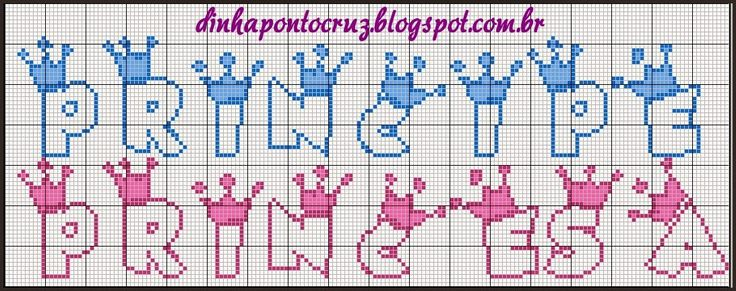 Dinha Ponto Cruz: Monograma baby principe e princesa