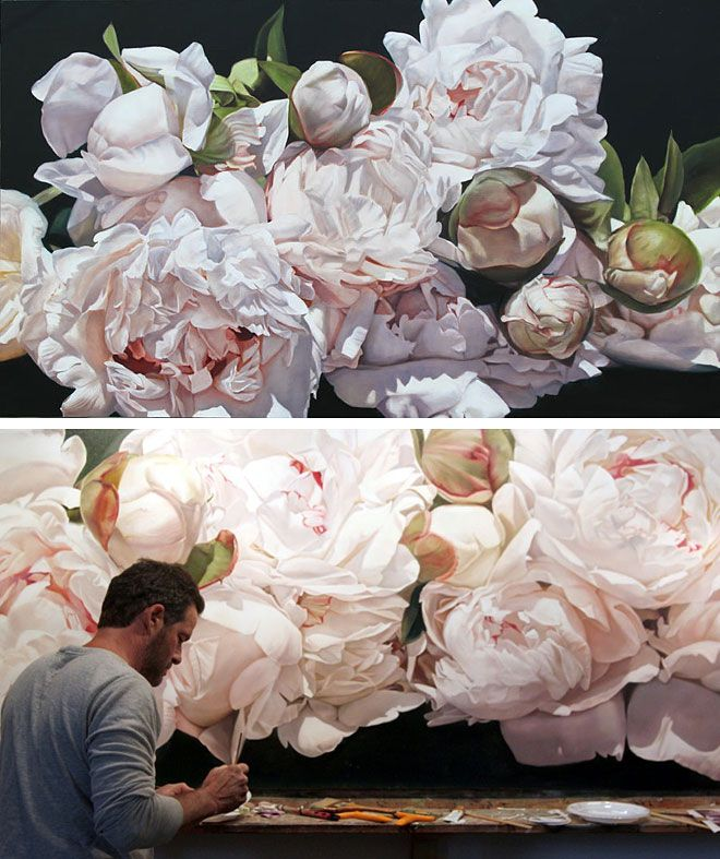 Miss Moss : Page 2 - Flower Paintings by Thomas Darnell - White Peonies - Large Painting