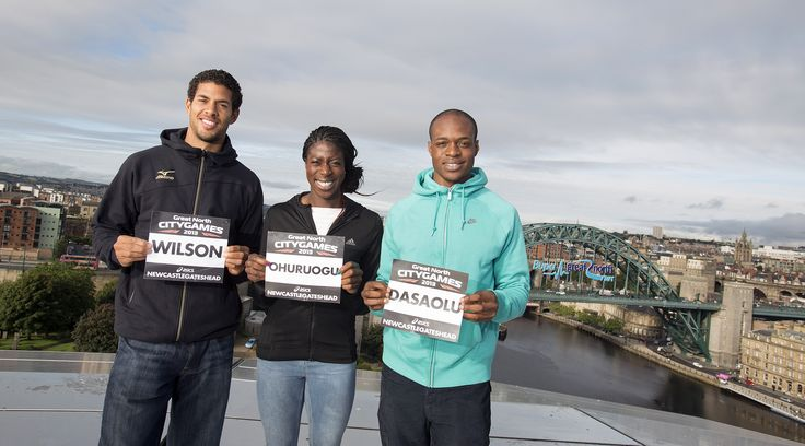 Top athletes Ryan Wilson, Christine Ohuruogu and James Dasaolu enjoy the view from our roof ahead of the Great North CityGames.