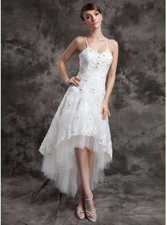 A-Line/Princess V-neck Asymmetrical Organza Tulle Wedding Dress With Lace Beading (002024067) - JJsHouse