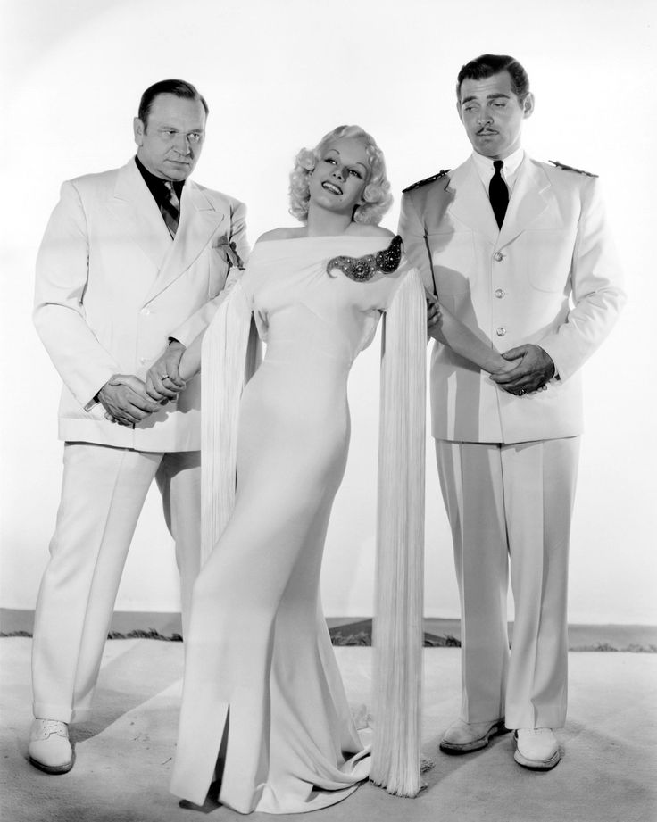 Wallace Beery, Jean Harlow Clark Gable, China Seas, 1935 (gowns by Adrian) …
