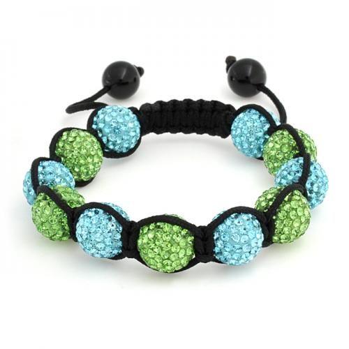 12mm Shamballa Inspired Bracelet Aquamarine Peridot Colored Crystal