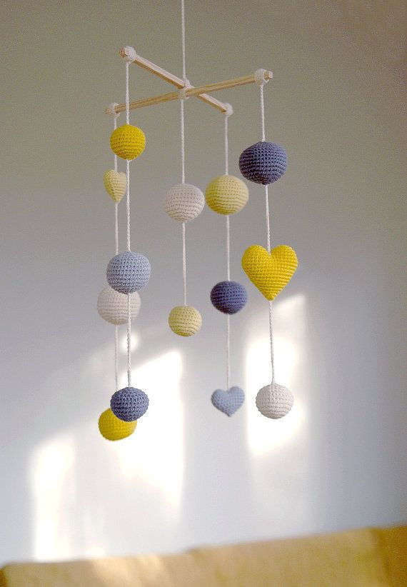 Crochet Balls/Hearts Baby Mobile - Grey/Yellow/Pale Yellow Ball's Mobile(5-color mobile) - Boys/Girls room decoration