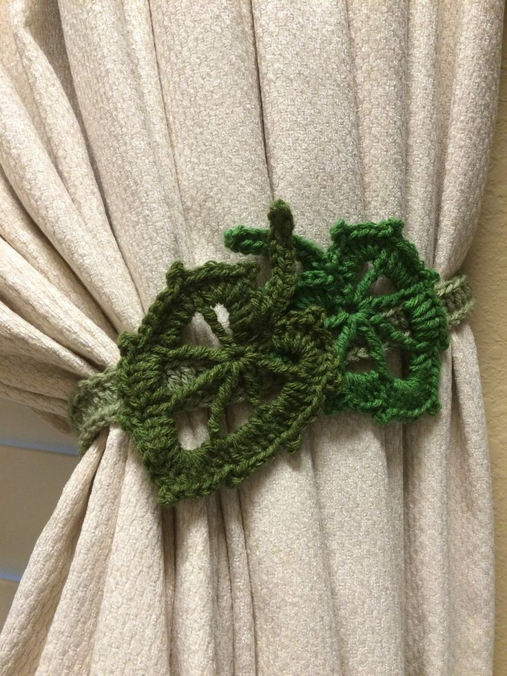 Crochet Curtain Tiebacks (1 pair) - Olive/Hunter Green leafs by JinesCrafts on Etsy