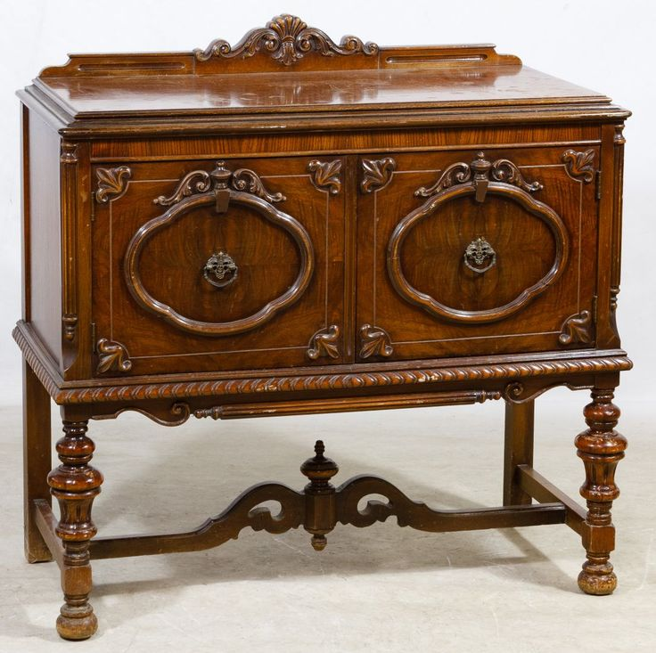 Lot 589: Jacobean Mahogany Sideboard Cabinet; Having two wood panel doors