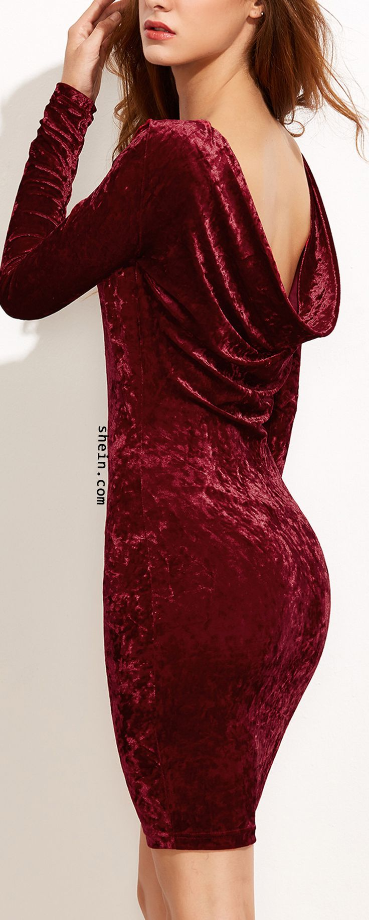Burgundy draped back velvet bodycon dress.