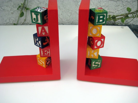 Bright red hand painted book ends with by thepresentplace on Etsy, $55.00