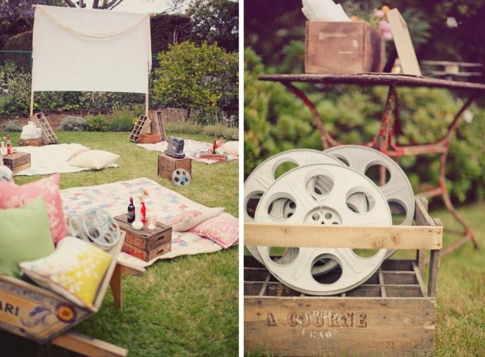 Great idea for post-rehearsal dinner entertainment. Put a movie screen in the backyard!