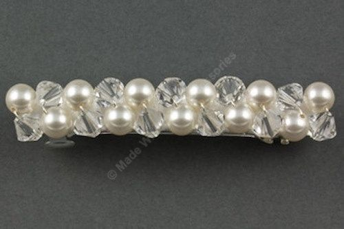 Pearl & Crystal Barrette- Bridal Hair Clip - Hair Accessories- Bridal Hair Accessories - Swarovski Crystals and Pearls by Makewithlovecrafts on Etsy