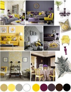 Color palette for the entire home -- kitchen in pale yellow/'grey/beige, bedroom in purples and browns and blues, living areas in between