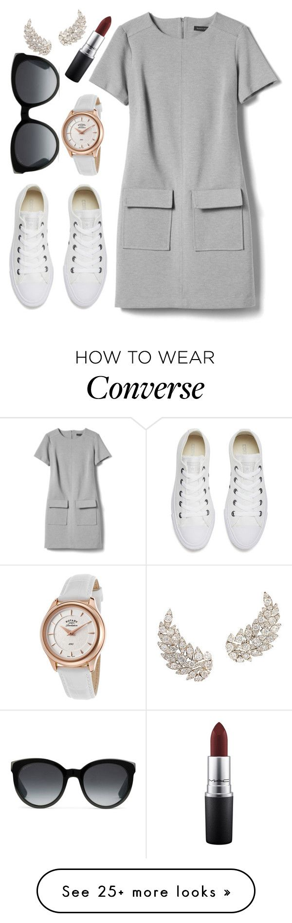 """""""saturday"""" by adele-adik on Polyvore featuring Banana Republic, Converse, Rotary, Gucci and MAC Cosmetics"""