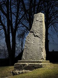 The Rimsø Stone. Found in Rimsø Church wall in 1832. Taken out of the wall in 1875 and raised in 1889 at the church yard.