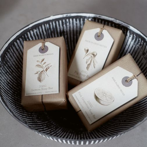 hang tags and kraft paper. i like this simple look.