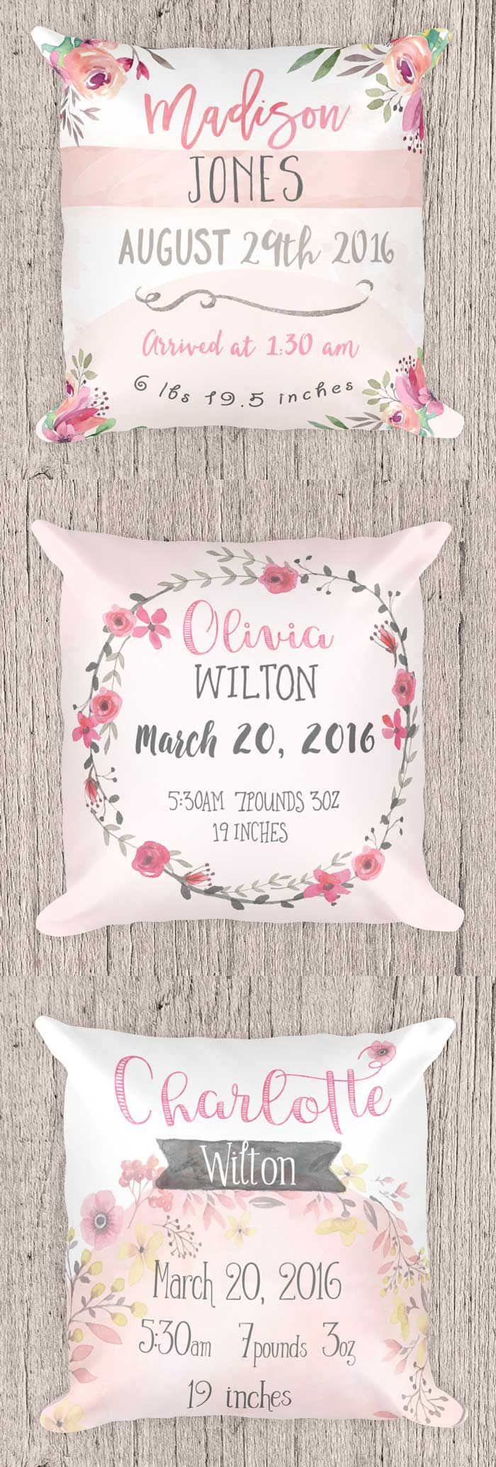 Personalized Birth Announcement Pillow Nursery pillow Baby Shower Gift Personalized Pillow First