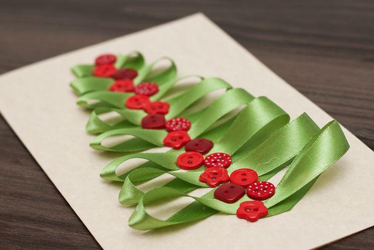 Idee fai da te :: Il biglietto di Natale fai da te con l'albero DIY christmas card decoration