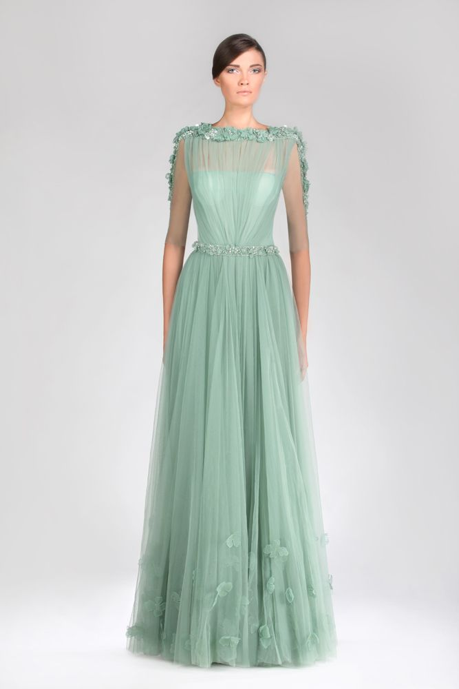 Tony Ward Malachite Green Evening Dress In D Tulle Adorned With Delicate Embroideries And Five