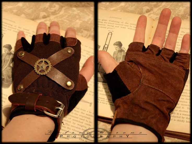 DIY Steampunk Sky Pirate Gloves Tutorial from Kyphoscoliosis on Deviantart. This DIY started out as humble (and very cheap) Dollar General gardening gloves