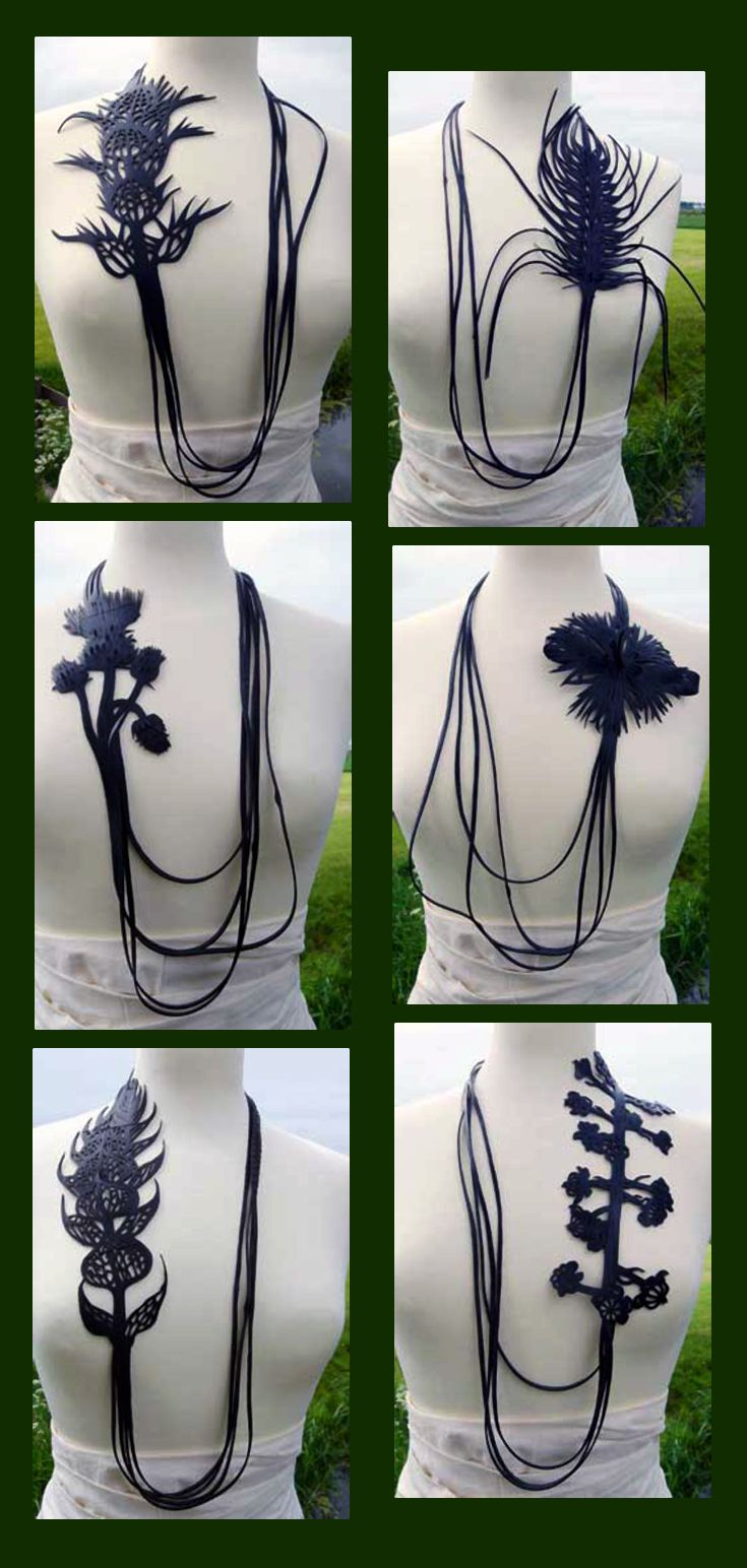 Necklaces | Thea Tolsma.  Made from recycling rubber inner tubes.   ||| http://www.theatolsma.nl/