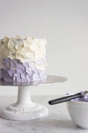 honey lavender cake with vanilla german buttercream and lavender ganache drip : cloudykitchen
