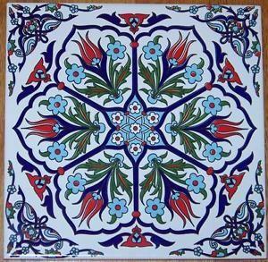 Ottoman-Iznik-6-Tulip-Design-8-x8-20cm-Turkish-Ceramic-Tile-Trivet-Hot-Plate