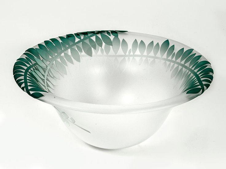 Junction Art Gallery - Rosie Sutcliffe 'Sprig Bowl' blown, etched and sandblasted glass £120.00 http://www.junctionartgallery.co.uk/artists/glass/rosie-sutcliffe/sprig-bowl-jade