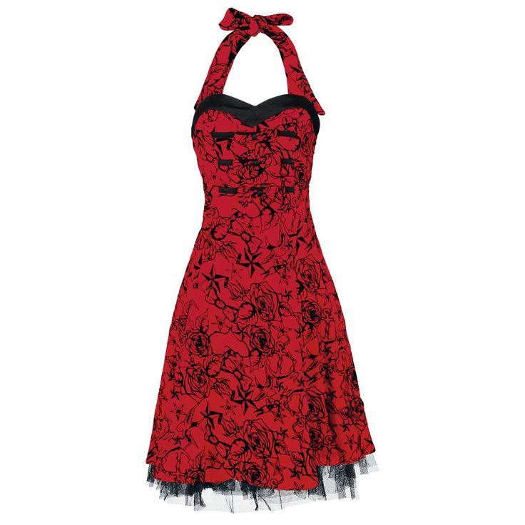 """Abito Red Flocking Long Dress"""" di H&R London in perfetto stile Pin Up, rosso con rose nere, tulle, scollatura a cuore e allacciatura dietro al collo. lu.: 83 cm circa."""